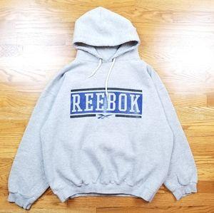 VTG Reebok Gray Large Spell Out Prints Logo Hoodie